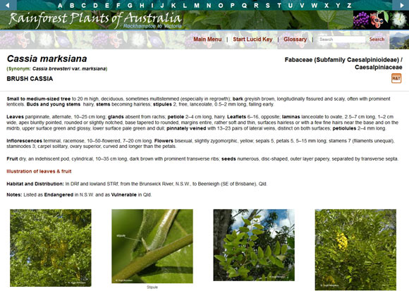 Layout of fact sheet to show information covered, links to other sections (such as index and glossary) and the first row of images. In the Interactive USB the images can be enlarged to see features in more detail.